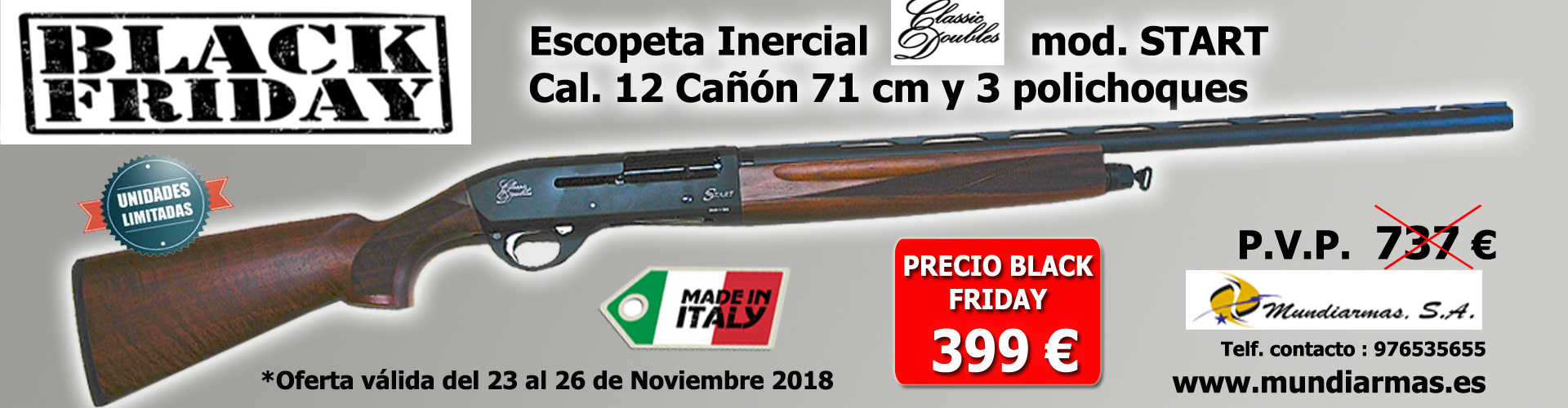 BLACK FRIDAY 2018 !!! ESCOPETA CLASSIC DOUBLES MOD. START 399€